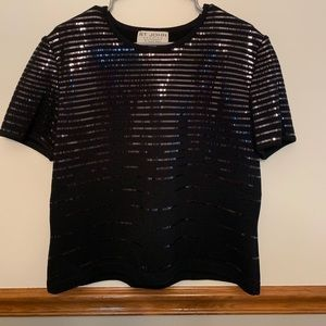 St. John Evening by Marie Gray Black Sequin Shirt